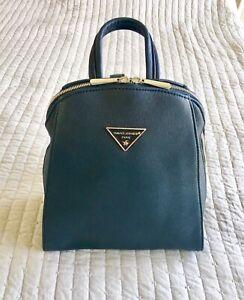 NWOT 100% Authentic David Jones (Paris) Faux Leather Small Backpack Blue Navy