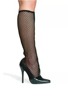 Ellie-516-Sexy-Black-Fishnet-Boots-Sz-10