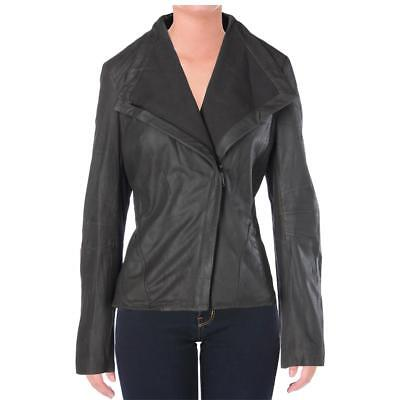 Elie Tahari 6583 Womens Jeanette Gray Leathered Motorcycle Jacket Coat L BHFO