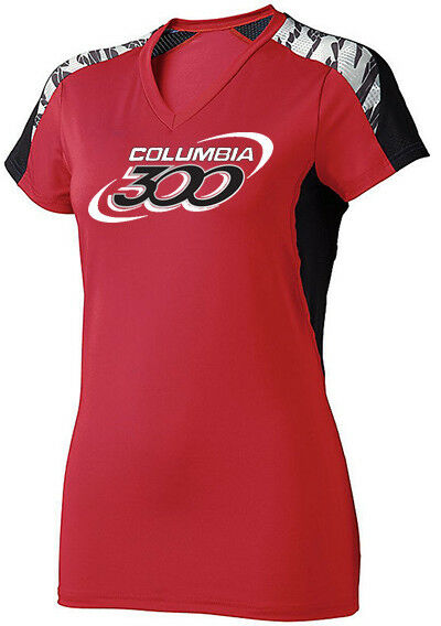 Columbia 300 Women's Boss Performance Crew Bowling Shirt Dri-Fit Red