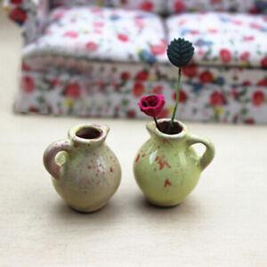 1-12-Miniature-ceramic-vase-dollhouse-diy-doll-house-decor-accessorie-Eh-TS