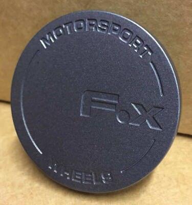 CARBON 4 X FOX RACING FX006 ALLOY WHEEL CENTRE CAPS PLUS BADGES 60MM