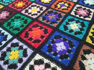 Vintage 48x68 Granny Square Black Border Trim Stain Glass Crochet