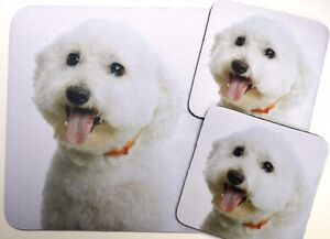 3 pc Set Dog Lover Mouse Pad 9x7 +2 Coasters BICHON FRISE Puppies Nice Gift