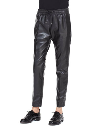 New Genuine Lambskin Leather Track Pants joggers Trousers Black Drawstring Lined