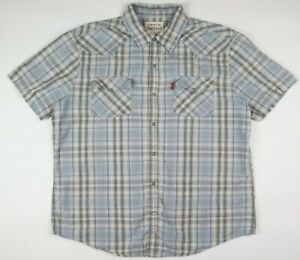 Levi-039-s-Pearl-Snap-Shirt-Short-Sleeve-Western-Cowboy-Rockabilly-Men-039-s-Size-XL