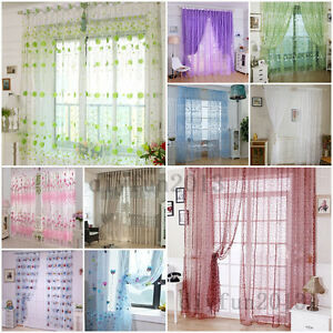 Fashion-Floral-Tulle-Voile-Door-Window-Curtain-Drape-Panel-Sheer-Scarf-Valances