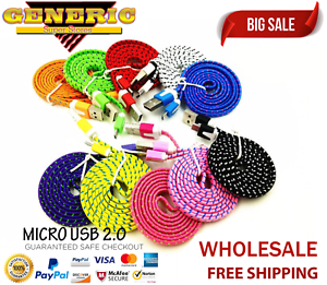 Wholesale Lot Micro USB 2.0 Charger Cable Cord Sync For Android Samsung HTC LG