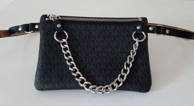 358fd085e530b9 Michael Kors MK Signature Logo Belt Wallet Fanny Pack Waist Pouch ...