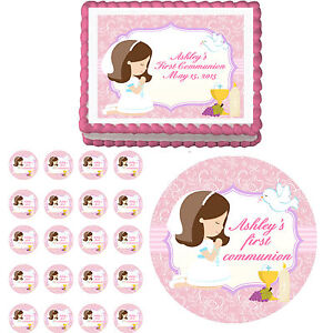 Edible Cake Top Decorations : Adorable First Communion Girl Edible Cake Cupcake Toppers ...
