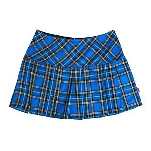 Tripp-NYC-80s-90s-Gothic-Punk-Blue-Tartan-Plaid-School-Girl-Mini-Skirt-Size-L