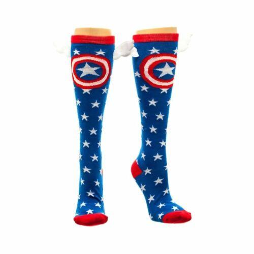 Marvel Captain America Star Hautes Chaussettes avec ailes-Avengers Taille Unique