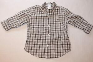 c814ac299 Baby Boy Toddler 2T JANIE AND JACK White Plaid Button Up Shirt Long ...