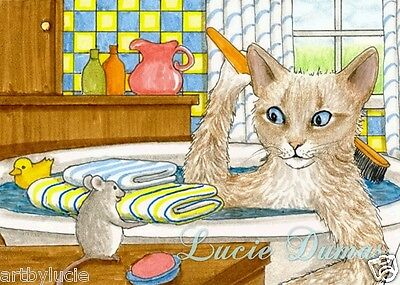 ACEO LE art print Cat 345 mouse from original painting by L.Dumas