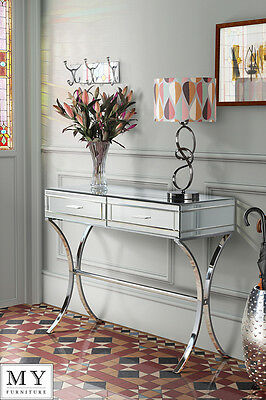 Barcelona style Mirrored and Chrome Dressing Console/Table - AURELIA (ID:10049)
