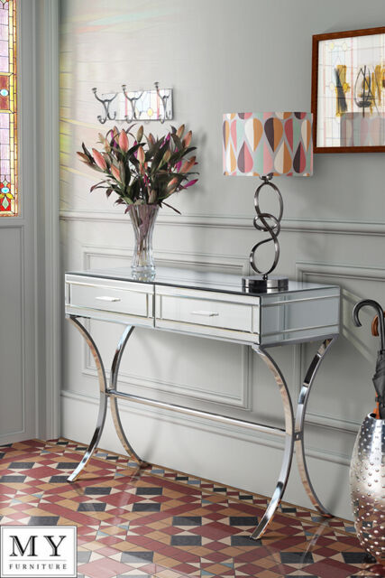 Barcelona style Mirrored and Chrome Dressing Console/Table - AURELIA  (ID:348)