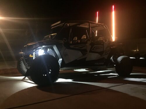 LED Lighted whip 5ft Remote Controlled with American Flag and Quick Connect RZR