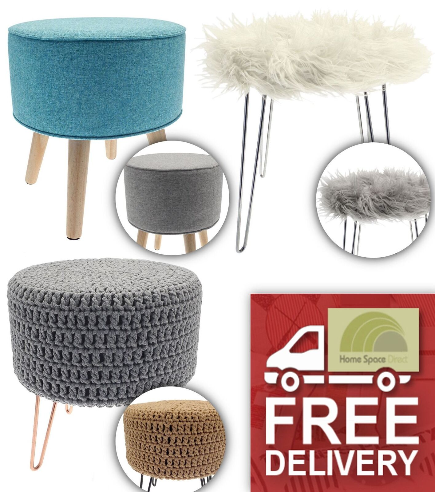 Knitted Or Plain Or Faux Fur Footstool Round Pouffe Stool Wooden Or Metal Legs