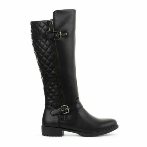 Ladies Womens Long Knee Faux Leather Quilted Zip Up Low Block Heel Black Boots