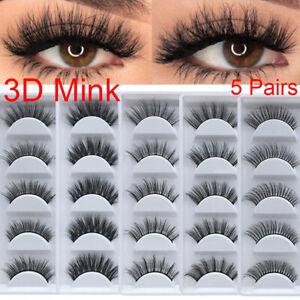 5-Pairs-100-Real-3D-Mink-Makeup-Cross-False-Eyelashes-Eye-Lashes-Handmade-US