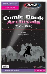 BCW-Silver-Age-2-Mil-Mylar-Comic-Book-Bags-7-1-4-034-x-10-1-2-034-Qty-500
