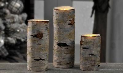 Birch Bark Candle Holders 3pc Tea Light Faux Wood Rustic ...