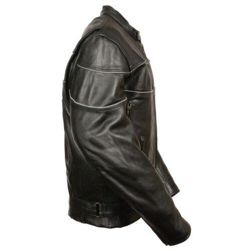 Milwaukee Leather Men/'s Side Stretch Black Jacket W// Reflective Piping **LKM1785