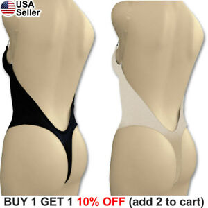 f23e7903d7cec Image is loading Backless-Full-Body-Shaper-Thong-Convertible-Seamless-Low-
