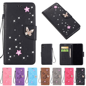 iPhone-XS-Max-X-6s-7-8-Glitter-Diamond-Wallet-Leather-Card-Case-Cover-For-Apple