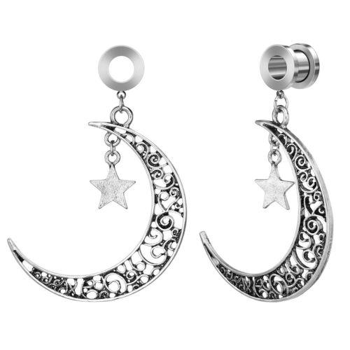 Fashion Ear Gauges Stainless Steel Moon Star Hoop Dangle Earring Tunnels Plugs