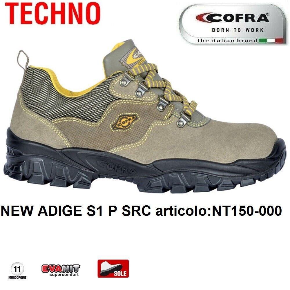 Scarpe Antinfortunistiche COFRA linea TECHNO BASIC modello NEW ADIGE S1 P SRC pelle scamosciata NT150 000