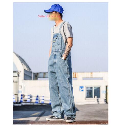 New men/'s loose denim overalls bib suspenders jeans jumpsuit retro