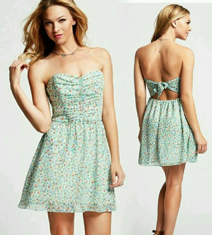 GUESS STRAPLESS SUMMER FLORAL PRINT DRESS