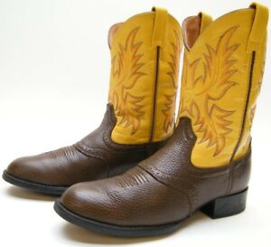 f840a87f664 Details about ARIAT 31726Y KIDS BOYS YOUTH BROWN YELLOW LEATHER COWBOY  WESTERN BOOTS SZ 4