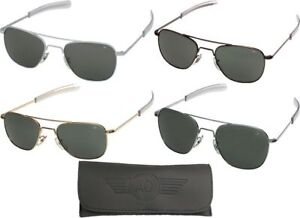 AO Eyewear Aviator Sunglasses Air Force Style Grey Lenses With Case ... 8f31fe26618