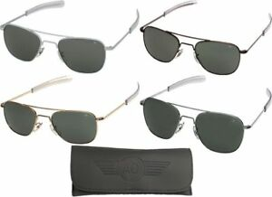 AO Eyewear Aviator Sunglasses Air Force Style Grey Lenses With Case ... aebf748eb57