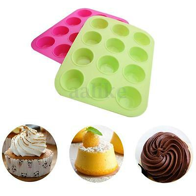 12 Cup Silicone Muffin Pudding Cupcake Mould Bakeware Round Cake Pan Baking Tray