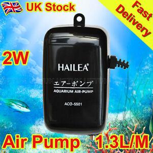 uk Aquarium Fish Tank Air Pump 2w 1.3l/min Super Silent Design Aco-5501