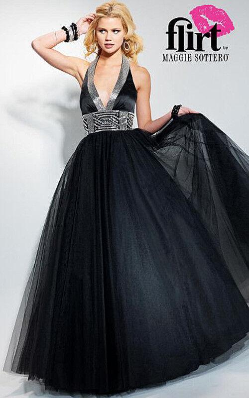 Nuevo Con Etiquetas Flirt By Maggie Sottero p1609  Negros oro  498 Prom Vestido 6  mejor marca