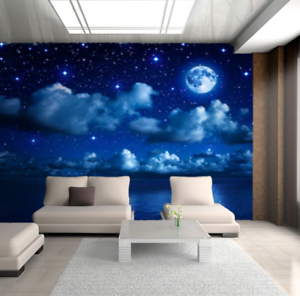 3D-Sky-Moon-Clouds-Stars-Night-Seascape-Wall-Murals-Wallpaper-Photo-Painting