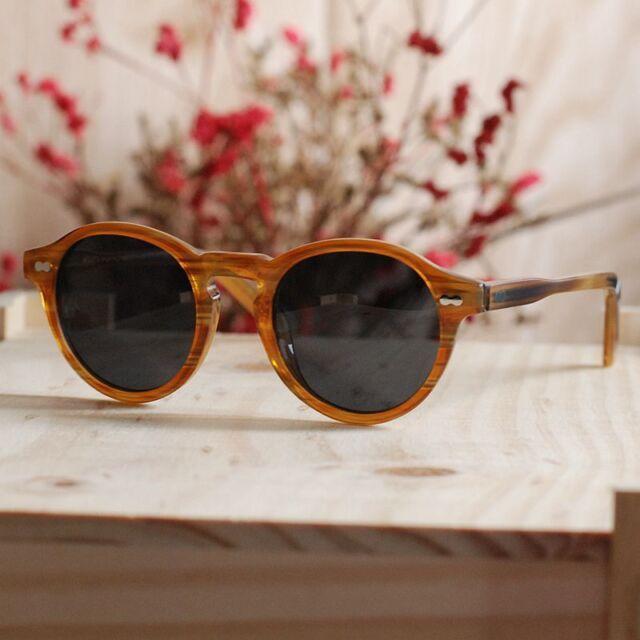 b2aa67bad8 Vintage round black polarized sunglasses Johnny Depp eyeglass blonde smoke  lens