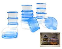 30 Pcs Reusable Plastic Food Storage Containers Set with Air Tight Blue Lids