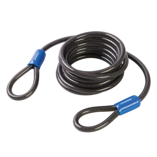 Twisted Steel /& Outdoor Rated PVC Coated 8mm x 2.5m Looped Steel Security Cable