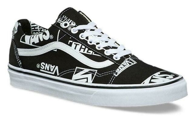 e2464c9505 VANS OTW OLD SKOOL (LOGO MIX) CANVAS BLACK WHITE SKATE SHOES MENS SZ 10.5