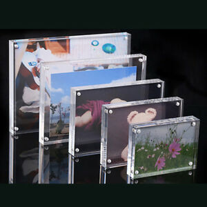 c4f0d83cbae Image is loading Acrylic-Picture-Frame-Business-Card-Holder-Magnetic-Photo-