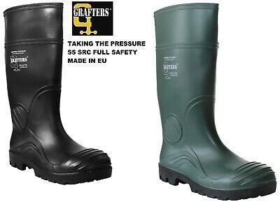 Da Uomo Grafters Completa Sicurezza Wellington Impermeabile In Acciaio Puntale Work Boots Stivali Di Gomma-mostra Il Titolo Originale