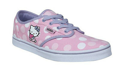 VANS ATWOOD LOW HELLO KITTY GIRLS TRAINERS SHOES LILAC, PINK & WHITE DOTS SIZE 2