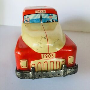 VINTAGE-ANTIQUE-WOLVERINE-1930-S-TIN-LITHO-FRICTION-TAXI-CAB-TOY-CAR-T903