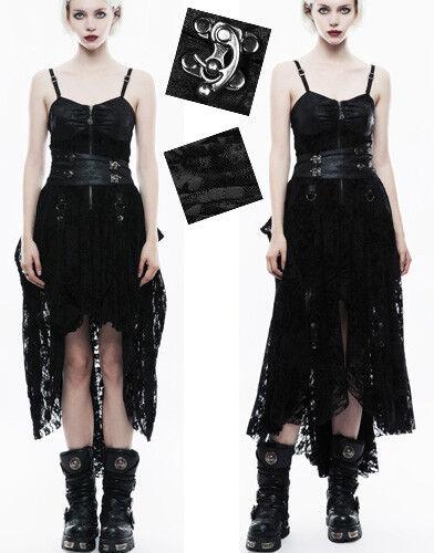 Robe steampunk transformable gothique cuir dentelle velours traîne PunkRave N