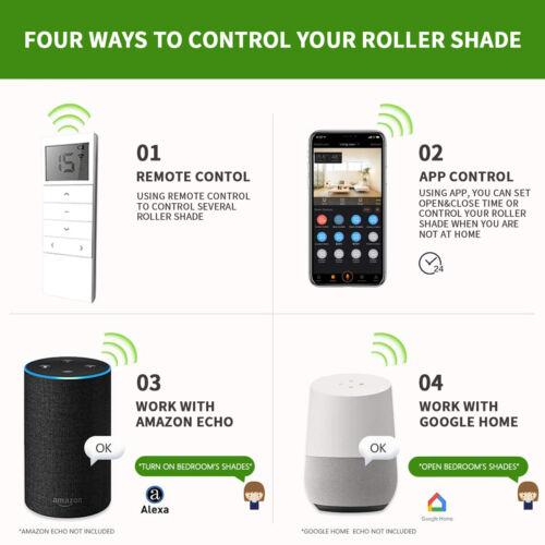 Motorized Window Roller Shade Blind Work with Mobile App//Alexa//Google Home Beige